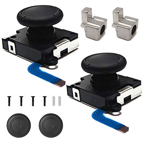 BRHE Joy-Con Joystick Ersatz kompatibel für Nintendo Switch Joy-Con-Controller 3D Analog Thumb Sticks Sensor mit Metallschnallen Daumengriffkappen Schrauben Federn Reparaturset (schwarz, 2 Stück)