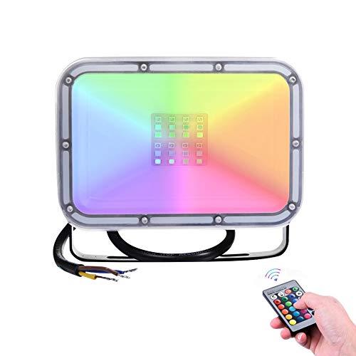 10W RGB Led Strahler 16 Farben Speicher Funktion Led Fluter Mit Fernbedienung IP65 Wasserdichtes 4-Modus-Dimmlicht für die Weihnachtsfeier der Geburtstagsfeie(Memory-Funktion)