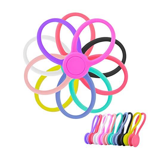 Ninonly Juego de 10 Clips Magnéticos para Cable de Auriculares Multifuncionales de Silicona Suave para Colgar llaves, Cierre de Bolsos, Marcadores de Libros, USB Auriculares Winder Wrap VariosColores