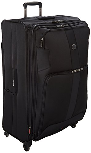 DELSEY Paris Sky Max 2.0 Softside Expandable Luggage with Spinner Wheels, Black, Checked-Large 29 Inch