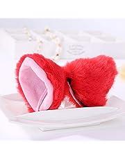 Sweet Lovely Anime Lolita Cosplay Fancy Neko Cat Orecchie Clip per Capelli Bianco con Rosa per Le Ragazze