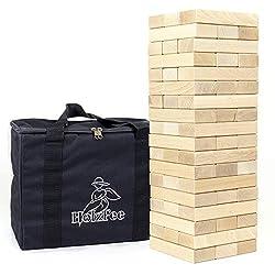 Wackelturm XXL mit Tasche 54 Holzklötze 18 x 6 x 3 cm Buchenholz Premium Qualität…