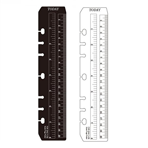 Chris-Wang 2Pcs Black/Clear Plastic Page Marker Pouch Pagefinder Measuring Today Ruler for A5 Size 6-Hole Binder Notebook