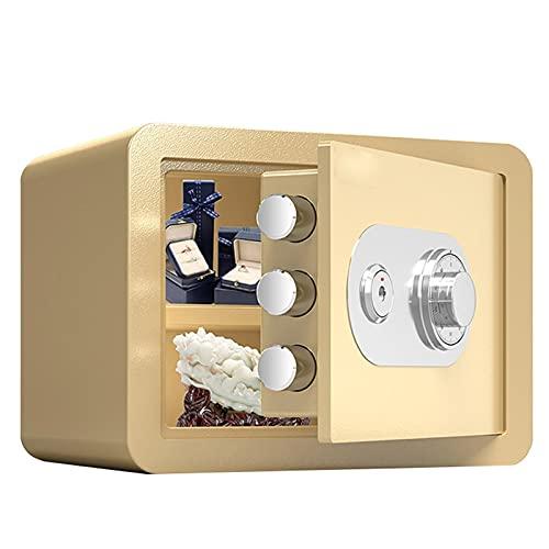 Cajas Fuertes Cajas De Seguridad Mecánica De Acero, Gabinete De Almacenamiento Seguro para Oficina En Casa, Joyas Y Efectivo En Restaurantes, Incombustibles Y Antirrobo, 30 Cm (Color : Gold)