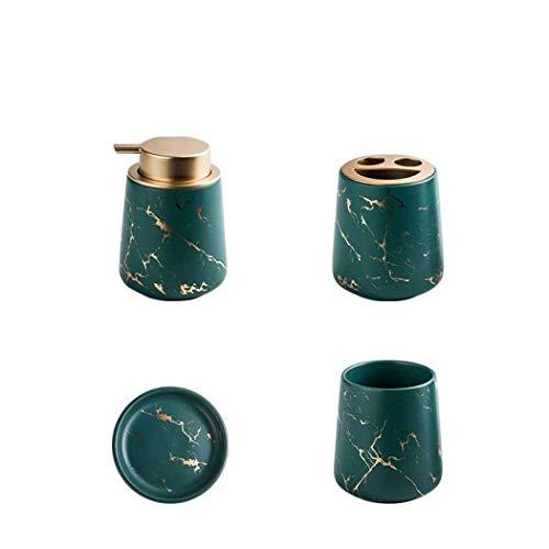 SENCILLON Juego de accesorios de baño de cerámica mármol con dispensador de jabón, soporte para cepillo de dientes, vaso, jabonera (verde oscuro (4 piezas))