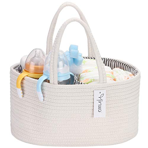 1pcs Diaper Caddy 5-Compartment Infant Nursery Tote Storage Bin Baby Storage Basket Baby Wipes Bag with a/Zipper/Side Pocket Newborn Shower Gift Basket with Invisible Pockets for Diapers /& Wipes