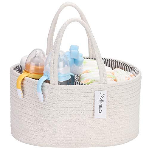Hinwo Baby Windel Caddy 3-Compartment Infant Nursery Tote Vorratsbehälter Tragbare Auto Organizer Neugeborenen Dusche Geschenkkorb Baumwollseil mit abnehmbaren Teiler für Windeln und Tücher