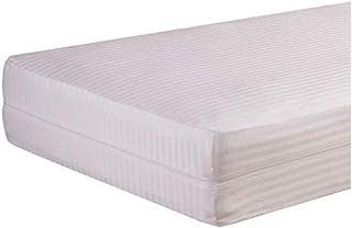 Isaire hogar Funda-de-Colchon-Raso-Cuty-Listado-Blanco-Cremallera L. Varios tamaños Disponibles (Blanco, colchón 160x190/200)