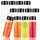 Botellas Vacías De Plástico 12 Pack Transparente Botellas 400ml Reutilizables Contenedores con Tapa de Plástico para Almacenar Zumo Leche Batidos o Bebidas Caseras