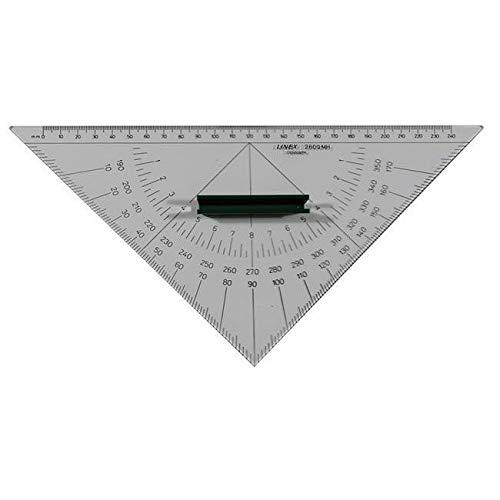 LINEX 100413014 Nautischer Winkelmesser einfarbig beschriftet mit Kunststoff-Griff und senkrechter Kante 280 mm