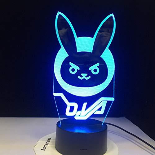 jiushixw 3D acryl nachtlampje met afstandsbediening kleur tafellamp animatie dier konijntje kind tafellamp met oplader