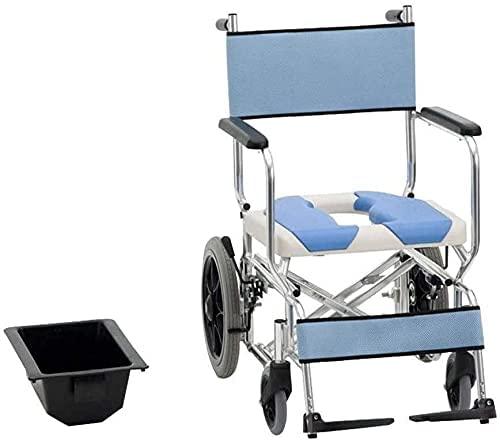 YQTXDS Inodoro Silla de Ruedas Silla de baño para Ancianos Plegable Ultraligero Pequeño y portátil Ligero Ti (Silla de Ruedas)