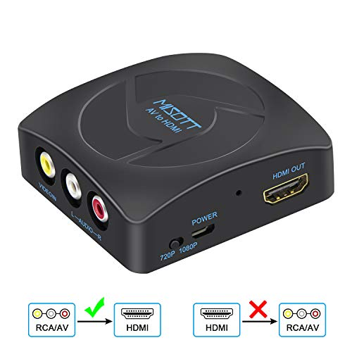 MISOTT Convertitore da RCA a HDMI, Convertitore Composito AV a HDMI, Adattatore RCA HDMI