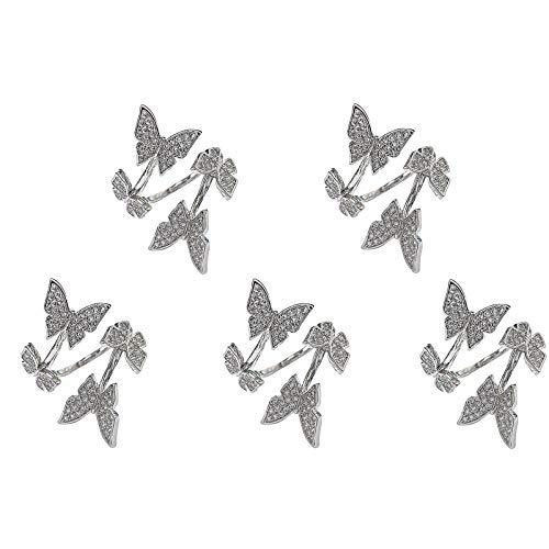 Herramientas de punto con forma de mariposa para tejer anillos de dedo abierto anillo ajustable trenzado, accesorios de ganchillo 1/2/3/4/5 piezas
