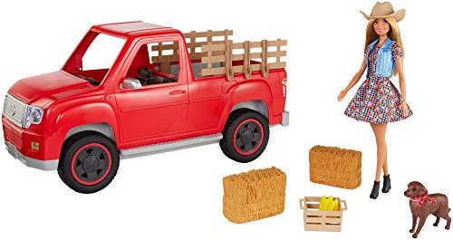 Barbie Fermière et son véhicule 4x4 rouge avec poupée avec chapeau et robe à fleurs, figurine de chien et accessoires, jouet pour enfant, GFF52