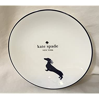 Kate Spade Wickford Dachshund Tidbit Plate/Choose blue or green (navy blue)