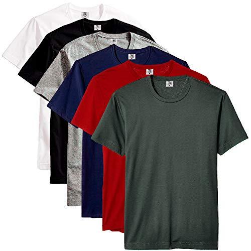 Kit com 6 Camisetas Masculina Básica Algodão Part.B Premium (Azul, Verde, Cinza, Vinho, Preto e Branco, G)