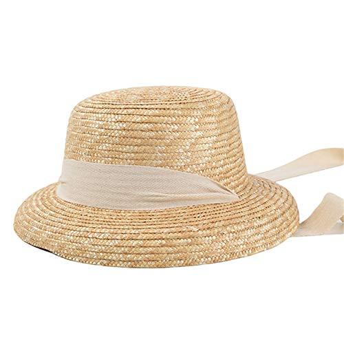 Qingxin Sombrero de sol para mujer, protección de verano, sombrero de paja de sol, sombrero de paja para la playa de viaje