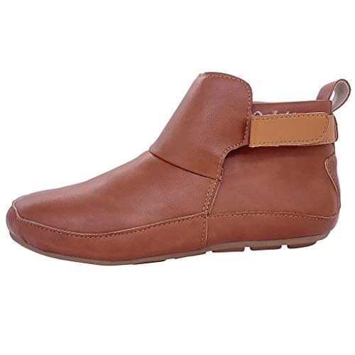 Hotopick Dames sneeuwlaarzen, waterdicht gevoerd laarzen dameslaarzen bruin leer zonder hak dames vintage lederen laarzen vlakke waterdichte schoenen winter ronde toe ankle boots goedkoop