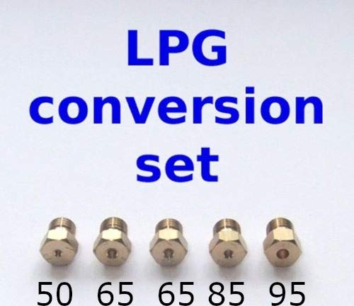 Set of 5 LPG gas injectors for kitchen and LPG conversion nozzles propane butane 1 x 50 2 x 65 1 x 85 1 x 95