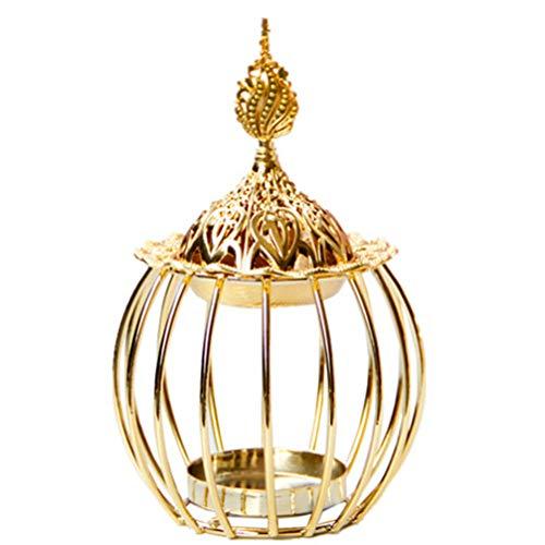 BESPORTBLE - Quemador de incienso árabe dorado, soporte para velas de incienso de metal, quemador de incienso en forma de torre de metal con aroma de lámpara aromática de incienso para bodas y Navidad
