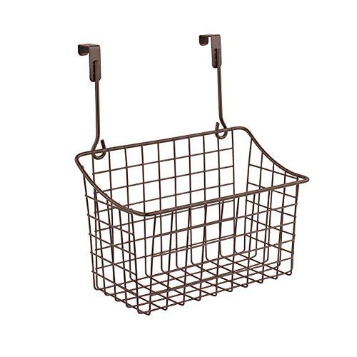 Spectrum Diversified Grid Storage Basket, Over The Cabinet, Steel Wire Sink Organization for Kitchen & Bathroom, Medium, Bronze