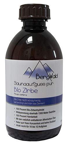 Sauna-Aufguss | 100% bio | Saunaduft mit natürlichen ätherischen Ölen für Saunaaufgüsse | Biozertifiziert aus Wildsammlung | Naturprodukt ohne Zusätze | 250 ml (Zirbe)