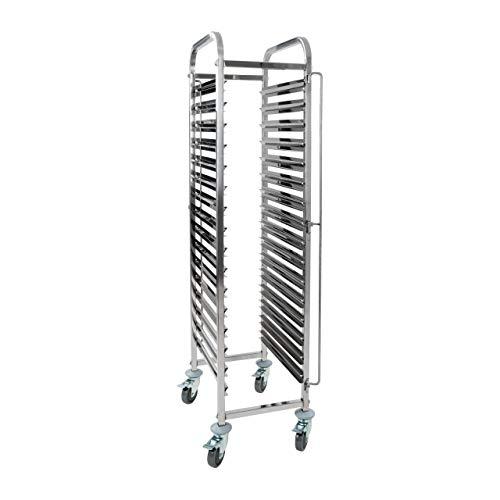 Royal Catering - Tablettwagen Abräumwagen (16 GN Einschübe, 80 mm Auflagenabstand, GN 1/1, 1/2, Feststellbremse, Edelstahl) Silber
