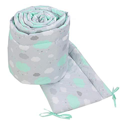 TupTam Babybett Bettumrandung Nestchen Lang Gemustert, Farbe: Wolken Mint, Größe: 420x30cm (für Babybett 140x70)