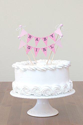 amazing buntings, Baby Girl, Kuchentopper mit 4 Stäbchen mit Holzeperlen, Einstellbare Länge, Rosa Pastell, Hochwertige Handgefertigte Dekoration, 85