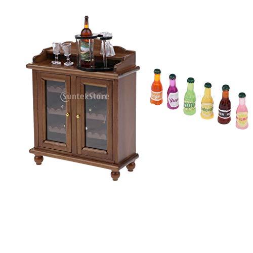 perfeclan Gabinete de Colección en Miniatura con Botellero, Botellas de Vino, Vasos Y Bebidas, Decoración de Muebles de Sala de Estar de Casa de Muñecas 1/12
