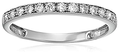 AGS Certified I1-I2 1/4 ctw 14K Milgrain Diamond Wedding Band (I-J Color)