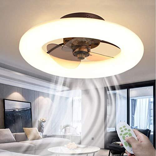 WJLL Ventiladores para el Techo con lámpara Dormitorio Led Ventilador de Techo con Luz y Mando Silencioso Reversible 6 Velocidades Ventilador Lámpara de Techo con Temporizador Regulable,Marrón
