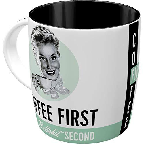 Nostalgic-Art Retro Kaffee-Becher - Say it 50's - Coffee First, Lustige große Retro Tasse mit Spruch, Geschenk-Idee für Vintage-Fans, 330 ml