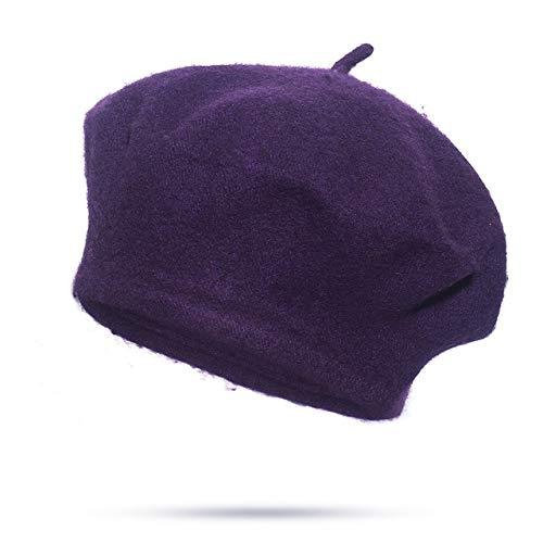 Women Girls Beret Warm Winter Beanie Hat Retro Vintage Plain Beret Solid Color Elegant Ladies-purple