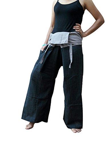 BenThain Products BTP Yogahose, 2-farbig, 100 % Baumwolle, Einheitsgröße, verschiedene Farben Einheitsgröße Schwarz Grau Fm4