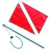 F Fityle Buceo, Pesca Submarina, Buzo, Bandera de Barco, Señal de Advertencia, Bandera Y Varilla de Puntero de Palo de Aleación de Aluminio Azul