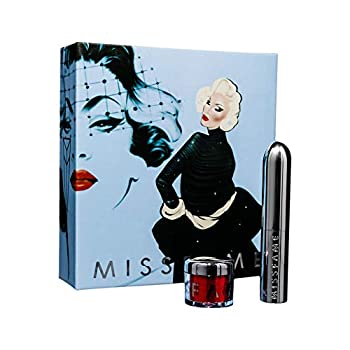 Miss Fame Limited Edition Glamour Lip Kit - LipVoyeur Red Creme Hydrating Avocado Oil Lipstick & Loose Iridescent Glitter | Perfect for Women Men Makeup Artists & Drag Enthusiasts