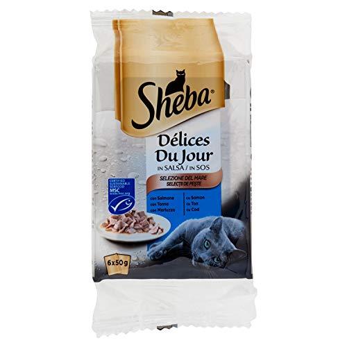 Sheba Délices du Jour Multipack Bolsitas de Comida húmeda para Gatos, Sabor Pescado (6 bolsitas x 50g)