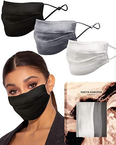 Beverly Hills Seiden-Maske in der Kollektion in Neutralen von Karizma 19 Momme 100% Maulbeerseide 6A Grade Stoff Gesichtsmasken 3 Stück weiß grau schwarz