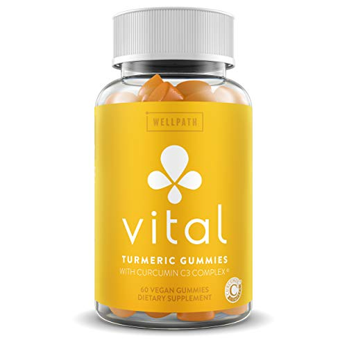 Vital Turmeric Gummies with Curcumin C3 Complex - First Gummy with Curcumin C3 - Turmeric Curcumin with Ginger for Joint and Inflammation Support - Tasty Alternative to Tumeric Capsules