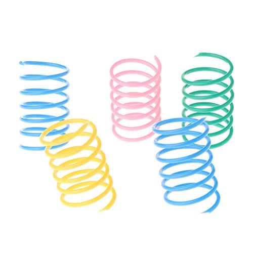 landum 5teilig Cat Toys Colorful Spring Kunststoff Bounce Pet zufällige Farbe breit Gauge schwere Farbe zufällig 4,5x 2,5cm (4,5x 2,5cm)