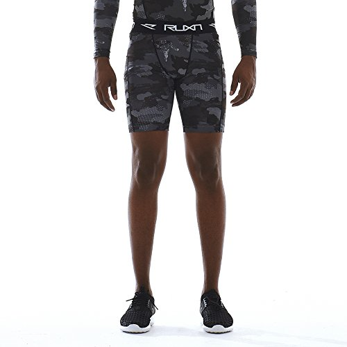 RUXN CS020 Mens Compression Shorts - Workout Short Pants for Men - Active Sports Quick Dry Underwear Athletic Tights Base Layer HeatGear Cold Weather Gear (S, Grey(Camo))