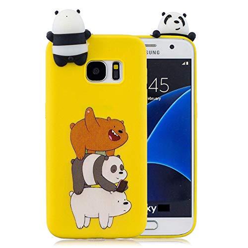 LAXIN Cute Panda Case for Samsung Galaxy S7 edge,Soft 3D kawaii Panda Silicone Case,Cute Animal Rubber Cover,Cool Kawaii Cartoon Gel Cover for Kids Girls Fun Soft Silicone Shell