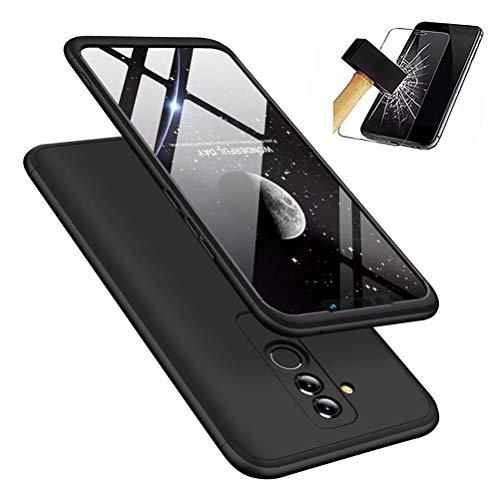 DYGG kompatibel mit hülle für Huawei Mate 20 lite hülle,360 Grad Schutz Schutzhülle Ultra dünn Soft PC Hartgummi handyhülle Case Cover + Displayschutzfolie - schwarz