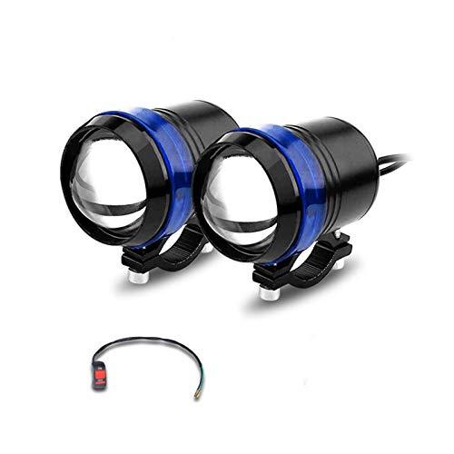 2 UNIDS Faro Blanco de la Motocicleta Lámpara Auxiliar U3 U5 U7 LED Motorbike Accesorios de proyector 12V Moto Luces de Cabeza (Color : 2pcs U3 Blue)