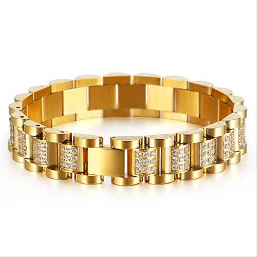 NOBRAND Reloj Dorado con Cadena de eslabones para Hombre, Pulsera con circón, Acero Inoxidable Pulido, Punk, joyería de Hip-Hop, 20,5 cm