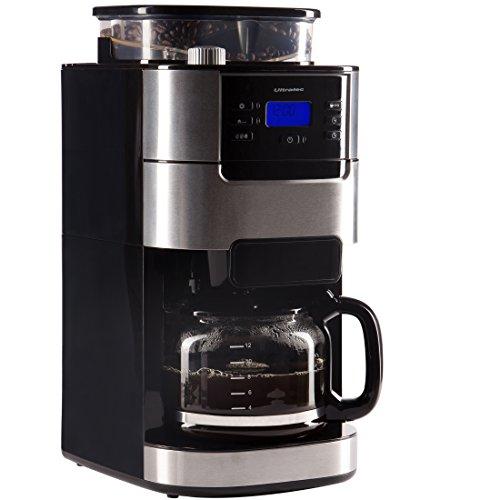 Ultratec Kaffeemaschine / Kaffee-Vollautomat mit Mahlwerk und Timerfunktion, Kaffevollautomat, Coffee machine, Kaffeemaschinevollautomat, inkl. Glaskanne und Permanentfilter, edelstahl/schwarz