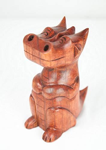 Asia-Design Smoky Dragon, Räucherdrache 20cm, Suarholz, handgeschnitzt, für Räucherkegel