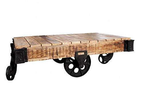 DuNord Design salontafel van massief hout voor in de woonkamer, met industriële stijl, 120 cm, massief mangohout